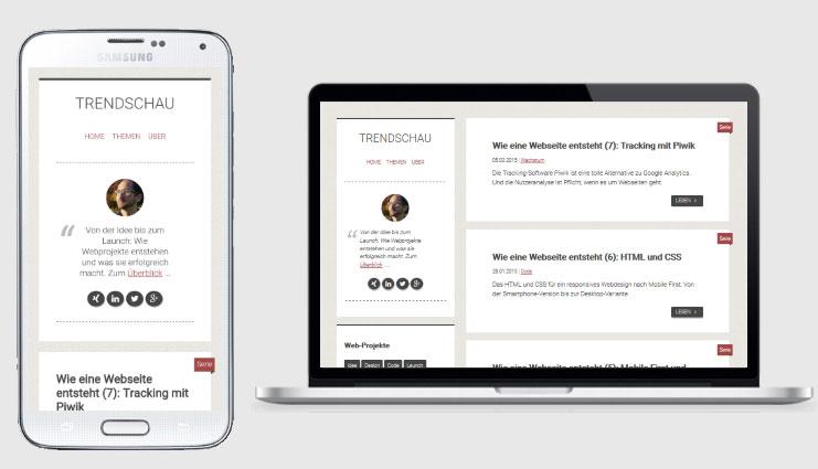 Mobile- und Desktop-Variante der Trendschau
