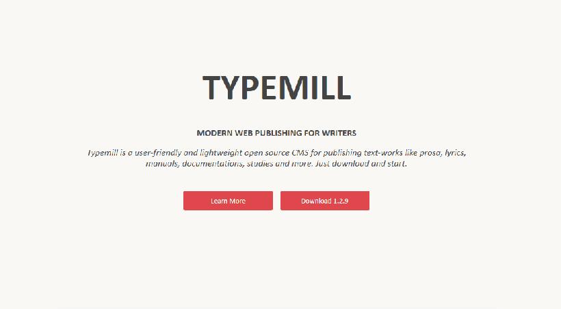 Startseite des Flat-File-CMS Typemill