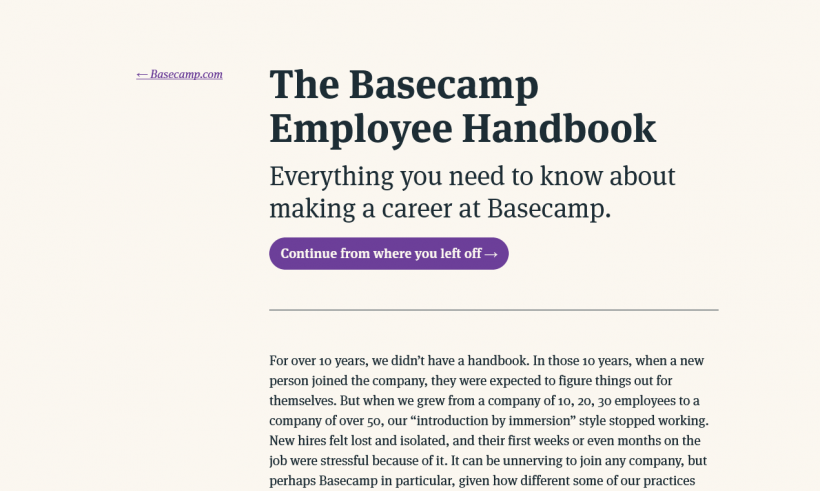 Screenshot Basecamp Employee Handbook