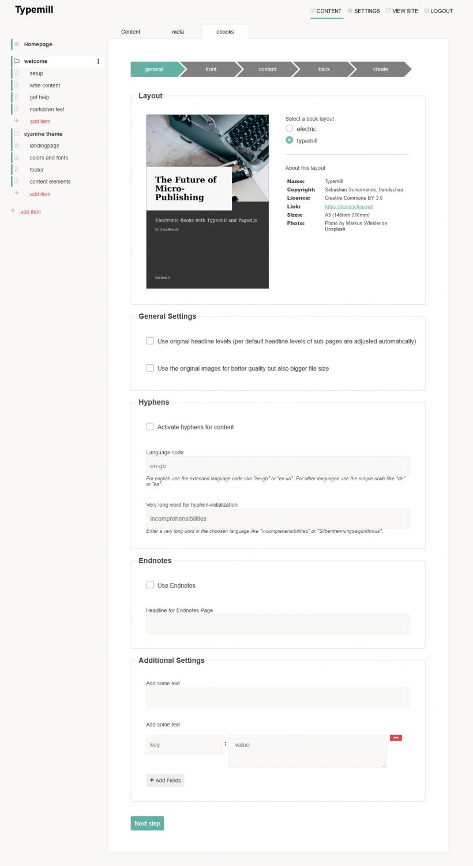 screenshot of the ebook plugin for typemill