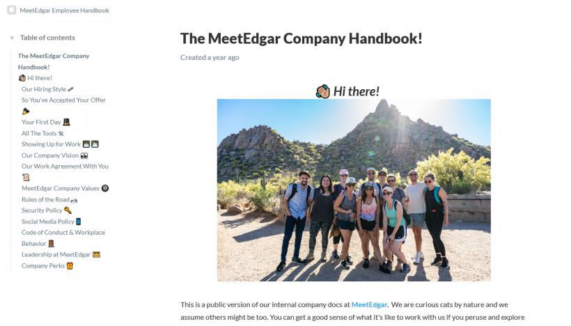 Screenshot Mitarbeiterhandbuch MeetEdgar
