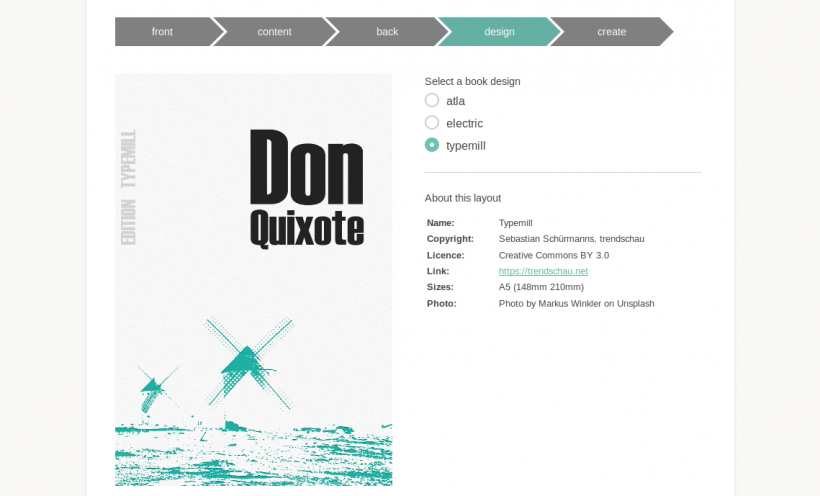 Screenshot eBook Plugin für Typemill
