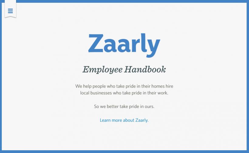 Screenshot Mitarbeiterhandbuch Zaarly