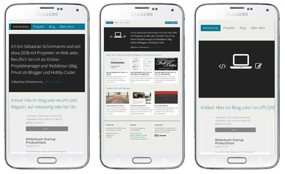 Drei Mobile-Ansichten mit verschiedenen Kombinationen von Meta-Angaben und Media-Queries